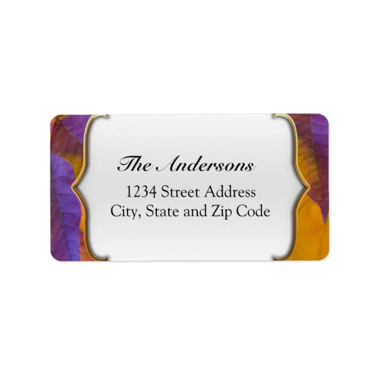 Vibrant Purple and Gold Fall Leaves Label