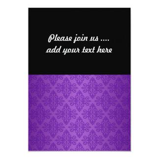 Vibrant Purple Damask Pattern 13 Cm X 18 Cm Invitation Card