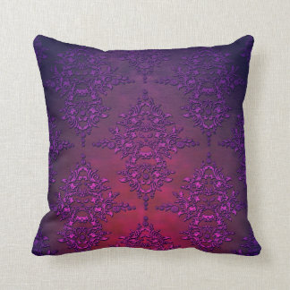 Vibrant Purple Orange Damask Pattern Throw Pillow