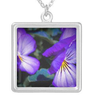 Vibrant Purple Pansy Square Pendant Necklace