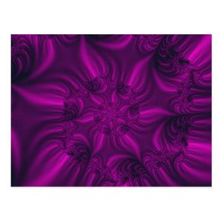 Vibrant purple spiralling fractal. postcard