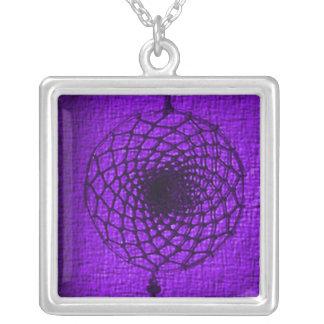'Vibrant Purple Storm' Square Pendant Necklace