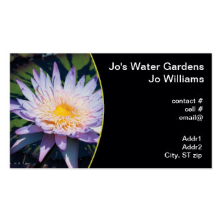 Vibrant purple water lily business cards
