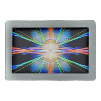 Vibrant Radiating Funky Pattern Rectangular Belt Buckle