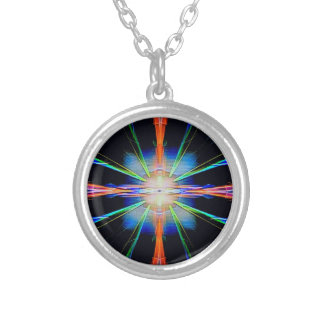 Vibrant Radiating Funky Pattern Silver Plated Necklace
