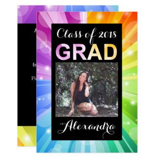 Vibrant Rainbow Class of 2018 Photo Graduation Card