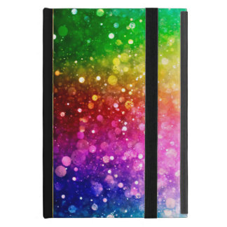 Vibrant Rainbow Colors Modern Bokeh Glitter Cover For iPad Mini