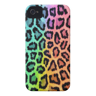 Vibrant Rainbow Leopard Fur Print Case-Mate iPhone 4 Cases