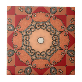 Vibrant Red Abstract Geometric Ceramic Tile