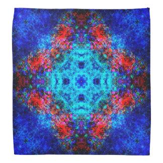 Vibrant red and blue mandala bandana