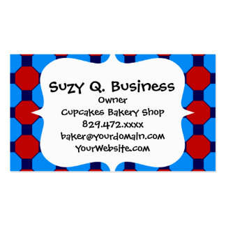 Vibrant Red and Blue Squares Hexagons Tile Pattern Pack Of Standard Business Cards