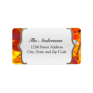 Vibrant Red and Gold Fall Leaves Address Label