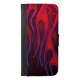 Vibrant Red and Purple Blue Flame Designs iPhone 6/6s Plus Wallet Case