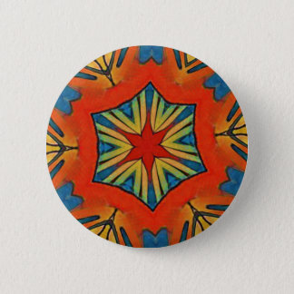 Vibrant Red Blue Yellow Star Pattern 6 Cm Round Badge