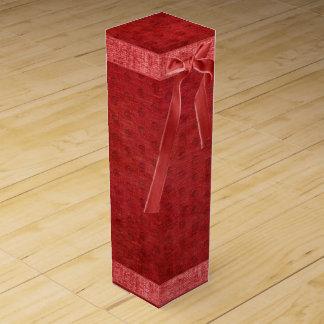 Vibrant Red Chenille Geometric Texture Pattern Wine Bottle Box