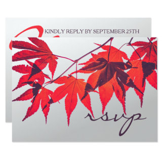Vibrant Red Fall Leaves RSVP card