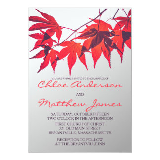 Vibrant Red Fall Leaves Wedding Invitation