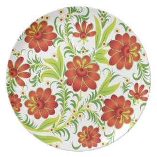 Vibrant Red Flowers Party Plates