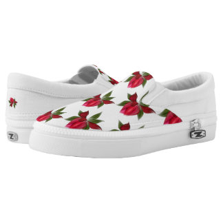Vibrant Red Flowers Printed Shoes