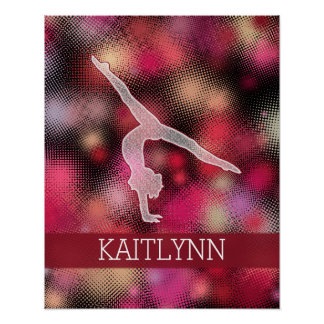 Vibrant Red Halftone Gymnastics w/ Monogram Poster