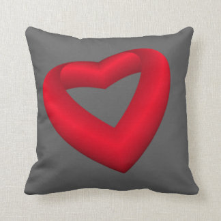Vibrant Red Heart Throw Pillow