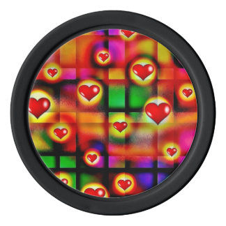 Vibrant Red Hearts Parade on Colorful Plaid Poker Chips
