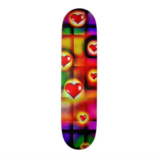 Vibrant Red Hearts Parade on Colorful Plaid Custom Skate Board