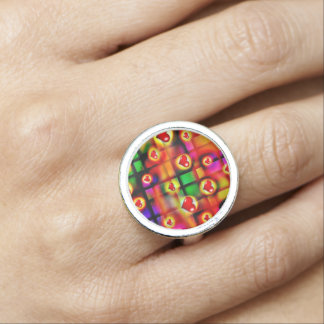 Vibrant Red Hearts Parade Valentine Jewelry Photo Ring