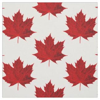 Vibrant Red Maple Leaf Design Fabric