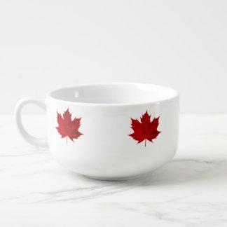 Vibrant Red Maple Leaf Soup Mug