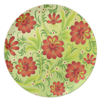 Vibrant Red on Green Party Plate