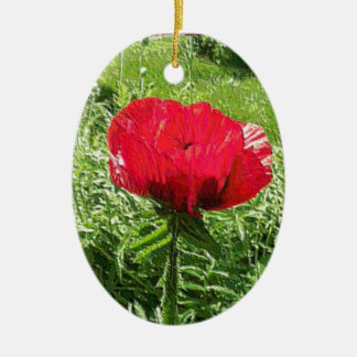 Vibrant Red Poppy Ceramic Oval Decoration