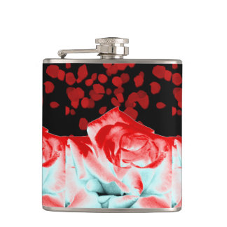 Vibrant Red Rose Flask