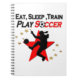 VIBRANT RED SOCCER PLAYER DESIGN NOTE BOOK