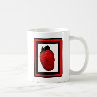 Vibrant red Strawberry on custom made drinkware Coffee Mugs