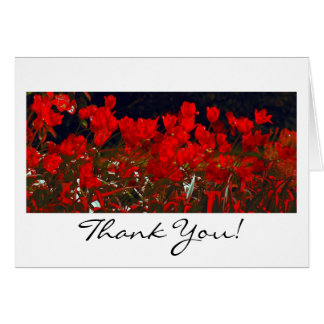 Vibrant Red Tulips, Thank You Greeting Card