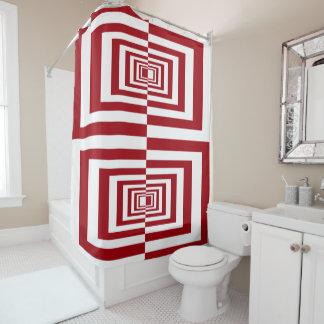 Vibrant Red & White Geometrical Pattern Design Shower Curtain