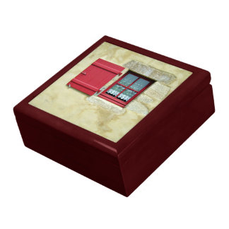 Vibrant Red Window Frame In A Yellow Wall Large Square Gift Box