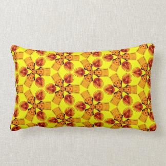 Vibrant Red Yellow Orange Fractal Pattern Lumbar Pillow