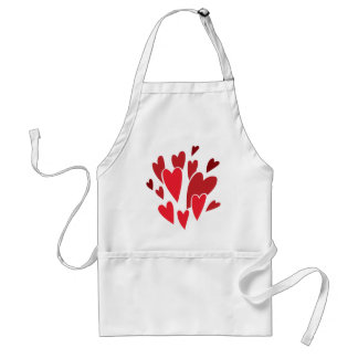 VIBRANT REDS LOVE HEART SHAPES RELATIONSHIPS DATIN APRONS