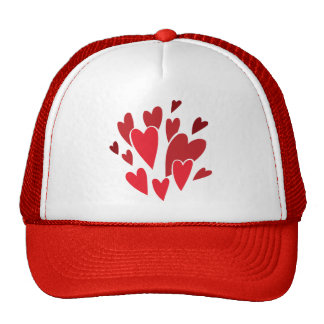 VIBRANT REDS LOVE HEART SHAPES RELATIONSHIPS DATIN HAT