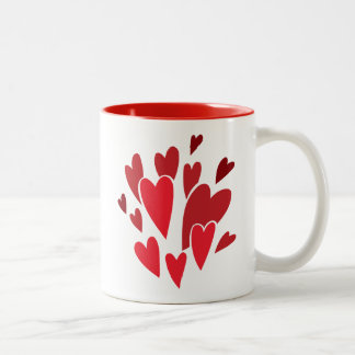 VIBRANT REDS LOVE HEART SHAPES RELATIONSHIPS DATIN COFFEE MUGS