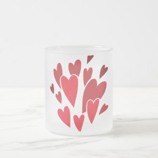 VIBRANT REDS LOVE HEART SHAPES RELATIONSHIPS DATIN MUGS