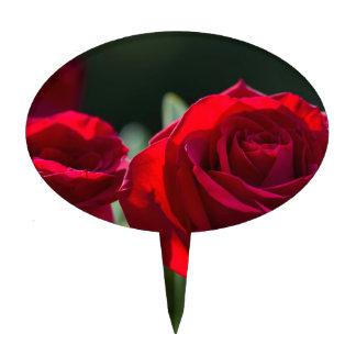 Vibrant Romantic Red Roses Cake Topper