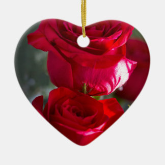 Vibrant Romantic Red Roses Ceramic Heart Decoration
