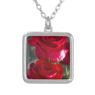 Vibrant Romantic Red Roses Square Pendant Necklace