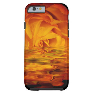 Vibrant Rose In Rain Puddle Tough iPhone 6 Case