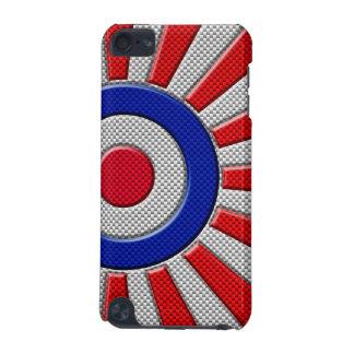 Vibrant Roundel Sunburst Design Carbon Fiber Style iPod Touch 5G Covers