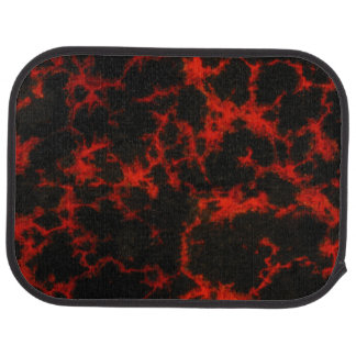 Vibrant Spotted Red and Black Flames Car Mat