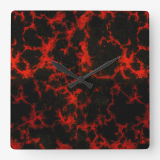 Vibrant Spotted Red and Black Flames No Digits Square Wall Clock